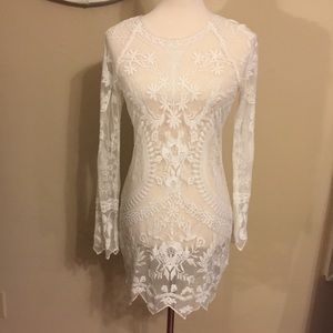 Ivory Sheer Mesh Dress Lace Embroidered Floral S